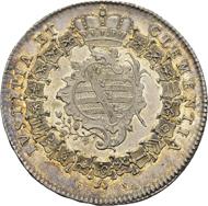 Sachsen-Weimar, Herzogtum. Ernst August II. Konstantin. Reichstaler, 1756 FS, Eisenach, auf seinen Regierungsantritt. Dav. 2757; Koppe 534; Schnee 391. Stempelglänzendes Prachtexemplar mit herrlicher Patina.
