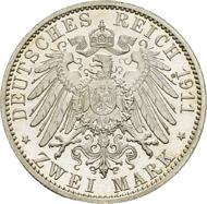 SACHSEN-COBURG-GOTHA, HERZOGTÜMER. Carl Eduard. 2 Mark, 1911, zur Taufe des Erbprinzen,