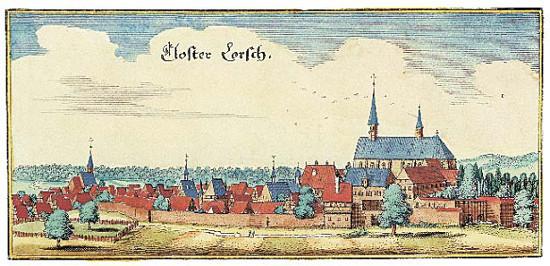Matthäus Merian, Kloster Lorsch auf einem kolorierten Kupferstich, um 1615. Quelle: Wikicommons.