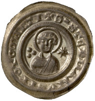 Bishopric of Halberstadt. Gero von Schermbke, Bishop (1160-1177). Pfennig. Head of Saint Stephen. Frontal view of Saint Stephen's head, to the left, the three stones of his martyrdom, to the right, eight-pointed star. © MoneyMuseum, Zurich.