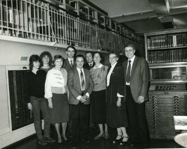 A part of the Münzkabinett staff present at the retirement of Dr Lore Börner in 1988. From right to left: Wolfgang Steguweit, Lore Börner, Sabine Schultz, Hans-Dietrich Schultz, Günther Schade (Director General), Bernd Kluge, Gisela Stutzbach, Manuela Stolzenberger, Eva Frommhagen. Photo: Münzkabinett archive.