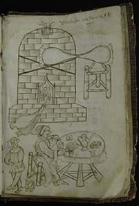 Picture of a melting furnace, in front of it a table with the dining master and his apprentice.