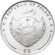 Palau/ 5 Dollars/ Silver .999/ 25 g/ 38.61 mm/ Mintage: 2014 pieces.