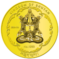 Bhutan / 1,000 BTN / 1/4 oz 999.9 Gold / 21.96 mm / Mintage: 6,000.