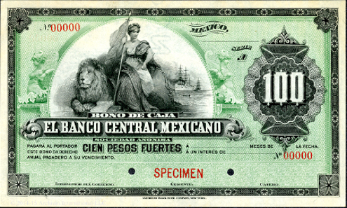 Bono De Caja, El Banco Central Mexicano, 1899 Specimen Banknote. Mexico, 1899, Ser. A. 100 Pesos, P-Unlisted. Note would have been CU but there is a small indentation where the note had been paper clipped to something in the past, otherwise a beautiful and dramatic design on this rare note. ABNC.