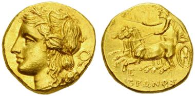 Lot 20: Hieron II. Dekadrachm, 274-216 BC. Estimate: CHF 5'000.00.