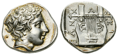 Lot 21: Olynthos. Tetradrachm, c. 410-401 BC. Estimate: CHF 10'000.00.