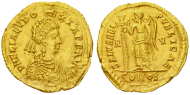 Lot 91: Licinia Eudoxia. Solidus, 437-439 AD. Estimate: CHF 25'000.00.