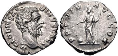 Lot: 452: Clodius Albinus. As Caesar, AD 193-195. Denarius (18mm, 3.16 g, 12h). Rome mint. Struck under Septimius Severus, AD 193. RIC IV 1a; RSC 58. Good VF, lightly toned. Good metal. Estimate: $1500.