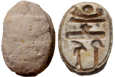Lot: 607: New Kingdom. 1550-1075 BC. Steatite scaraboid (15x10mm). From the Dr. John N. Winnie Collection. Once glazed, pierced for mounting. Estimate: $100.