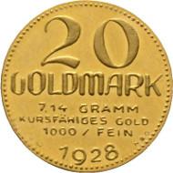 Nr. 3733: ALTDEUTSCHLAND. Nürnberg. Prägungen des Goldschmieds Josef Wild. 20 Goldmark 1928, 400. Todestag von Albrecht Dürer. Fischer 20.6. Sehr selten. Vorzüglich. Taxe: 2000,- Euro.