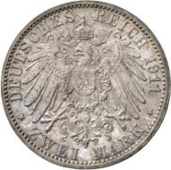 Nr. 4198: KAISERREICH. Sachsen-Coburg-Gotha. 2 Mark 1911 zur Taufe des Erbprinzen. J. 147. Eine der seltensten Reichsmünzen mit einer Auflage von nur 100 Stück! Kabinettstück mit prachtvoller Patina. Stempelglanz. Taxe: 15.000,- Euro.