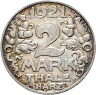 Nr. 4619: NOTMÜNZEN. 2 Mark 1921, Abschlag in Silber, Randpunze 900. Funck 537.8. Vorzüglich. Taxe: 200,- Euro.