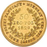 1881. Russland. Nikolaus I. 50 Zlotych 1829, FH-Warschau. Für Polen. Bitkin 978. vorzüglich. Taxe: 9.000 Euro.