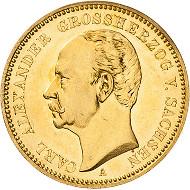3845. Sachsen-Weimar-Eisenach. Carl Alexander. 20 Mark 1896 A. Jaeger 282. Fast Stempelglanz/Stempelglanz. Taxe: 2.500 Euro.