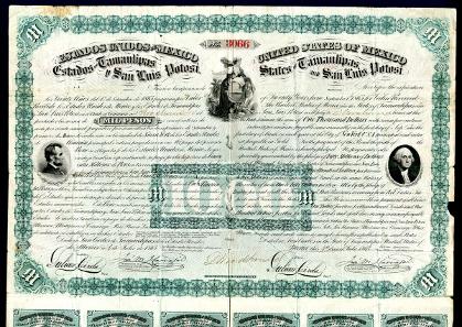 Estados De Tamaulipas y San Luis Potosi, 1000 Pesos Issued and Uncancelled