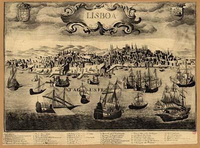 Der Hafen von Lissabon um 1650.