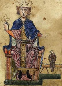 Friedrich II. mit seinem Falken. Aus seinem Buch