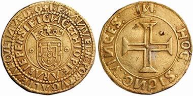 Dom Manuel I. (1495-1521). Português zu 10 Cruzados o. J., Lissabon. Aus Auktion UBS 50 (2001), Nr. 28.