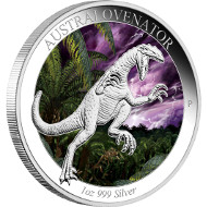 Australian Age of Dinosaurs - Australovenator 2014 1oz Silver Proof Coin.  Australia/ 1 AUD/ 1oz Silver 99.9/ 31.135 g/ 40.6 mm/ Designer: Tom Vaughan/ Mintage: 5,000.