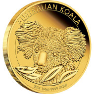 2014 Australia Koala ¼oz Gold Proof Coin.  Australia/ 25 AUD/ ¼oz Gold 99.99/ 7.777 g/ 20.6 mm/ Designer: Michael Guilfoyle/ Mintage: 1,000.