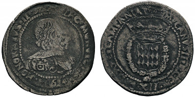 No. 311: MONACO. Honoré II, 1604-1662. 12 gros or fiorino, 1640. Gadoury 6. Extremely rare. About very fine. Estimate: 5,000,- euros.