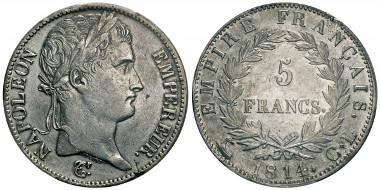 No. 520: ITALY. Département de Gênes, 1805-1814. 5 francs, Genoa, 1814CL. Gadoury 584. Very rare. PCGS XF40. Estimate: 20,000,- euros.