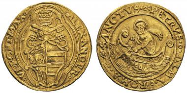 No. 708: ITALY. Vatican. Alexander VI, 1492-1503. Double florin, Rome, undated. CNI 5. Very rare. Very fine. Estimate: 2,000,- euros.