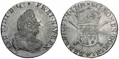 No. 434: FRANCE. Louis XIV, 1643-1715. Demi-écu de Flandre aux insignes IIe type, Lille, 1705W. Gadoury 195. Very rare. Very fine / extremely fine. Estimate: 8,000,- euros.