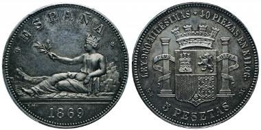 No. 414: SPAIN. Provisional Government, 1868-1871. 5 pesetas, Madrid, SN M. Cal. 2. Extremely rare. PCGS SP64. Estimate: 20,000,- euros.