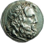 Silver tetradrachm struck in the Kingdom of Macedonia circa 229-221 during the reign of Antigonus Doson. Slightly patinated; large flan; René Baron collection. Estimate: 5.000-7.000 euros.