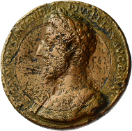 Lot 18. Bi-metallic medallion. Commodus (177-192 AD). Rome. 187-188 AD. 53.60 g. Vermeule -; Toynbee-; Cf. Gnecchi II, 52 and 53. Good F. Of the highest rarity. 4,975 euros.