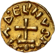 Lot 42: Utrecht, Duurstede. Frisian imitation.  Tremissis. 7th century. Delm. 17. 1.25 g. Good EF. Rare. 3,500 euros.