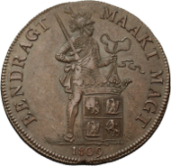 Lot 79: Rijksdaalder 1809. Pattern in bronse. Sch. 134b. 26.54 g. About UNC. Extremely Rare. Only a few examples struck. 12,500 euros.