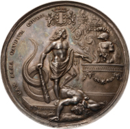 Lot 159. Treaty of Ryswick 1697. In commission of the city of Gouda. Cf. v. Loon III 190var. Silver 74 mm, 113.45 g. About UNC. Extremely Rare. 6,000 euros.