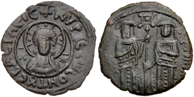 Lot 308: Andronicus II Palaeologus, with Michael IX. 1282-1328. Assarion (20mm, 1.88 g, 12h). Constantinople mint. Struck 1294-1320. DOC 633-7. Good VF, brown-green patina. Estimate: $150.
