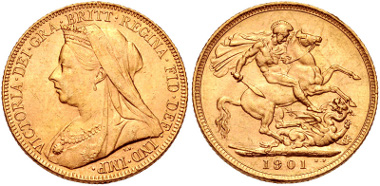 Lot 399: HANOVER. Victoria. 1837-1901. Sovereign (22mm, 7.97 g, 12h). Old head coinage. London mint. 1901. Friedberg 396. Choice EF. AGW: 0.2355 oz. From Group SGF. Estimate: $400.