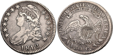 Lot 374: UNITED STATES. Capped Bust Half Dollar. 1812. Overton 105. VF, toned, shallow scratch on cheek. Estimate: $100.