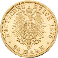 Los 2609: Reuss, Heinrich XXII., 20 Mark 1875 B (J.254). Schätzpreis: 48.000,- EUR.