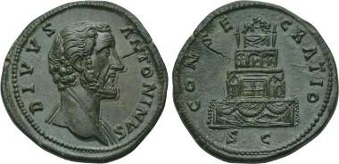 Lot 472. DIVUS ANTONINUS PIUS (Died 161). Sestertius. Rome.