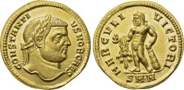 Lot 650. CONSTANTIUS I (Caesar, 293-305). Aureus. Nicomedia.