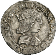 Ferdinand I of Aragón, King of Naples (1458-1494). Coronato, Naples. Armour-clad bust of Ferdinand with crown, turning to the right. Rv. Archangel Michael, slaying the dragon. © MoneyMuseum, Zurich.