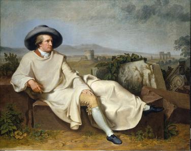 Johann Heinrich Wilhelm Tischbein (1751-1829), Goethe in der römischen Campagna (Goethe in the Roman Campagna). Oil on canvas, 1787. Städel Museum, Frankfurt am Main. © U. Edelmann, Städel Museum, ARTOTHEK.