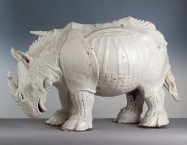 Porcelain rhinoceros based on Dürer's print. Made by Johann Gottlieb Kirchner, Meissen factory, 1730. Porzellansammlung, Staatliche Kunstsammlungen Dresden. Photo: Herbert Jäger.
