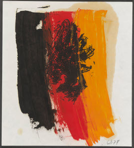 Adler linocut by Baselitz: Adler (Eagle), George Baselitz, 1977. Etching printed from perspex plate with oil on paper. Presented to the British Museum by Count Christian Duerckheim. Reproduced by permission of the artist. © Georg Baselitz.