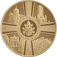 Gold Medals are available in three editions. Lithuania/ Gold 999/ 100g/ 51 mm/ Designer: Giedrius Paulauskis/ Mintage: 8. // Lithuania/ Gold 999/ 31.1 g/ 32 mm/ Designer: Giedrius Paulauskis/ Mintage: 50. // Lithuania/ Gold 999/ 1.24 g/ 13 mm/ Designer: Giedrius Paulauskis/ Mintage: 100.