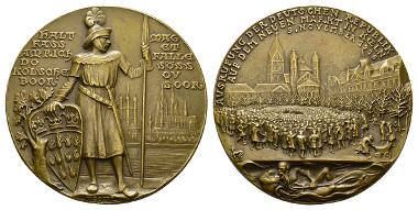 Köln, Medaille, 1921, Bronze. Anlässlich der Ausrufung der Deutschen Republik auf dem Neumarkt am 9.11.1918.