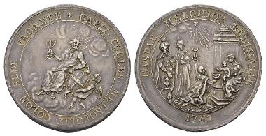 Erzbistum Köln, Prägung des Domkapitels, Medaille im Doppeltalergewicht, 1761.