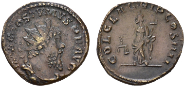 Postumus. Antoninian, Köln, 268 n. Chr. In Umschrift COL CL AGRIP COS IIII (Colonia Claudia Agrippinensium, 4. Konsulat).