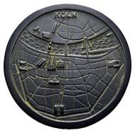 Köln, Medaille, 1973, Bronze. Stadtansicht von oben.